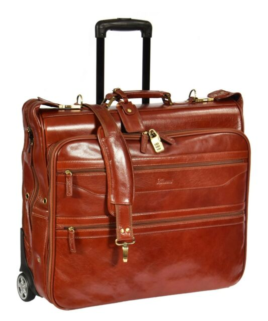 Exclusive Leather Suit Carrier Dress Garment Travel Weekend Bag On Wheels Cognac