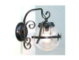 Plafoniera Ferro Battuto Nero : Lanterna applique lampada sfera d.14 ferro battuto cruccolini