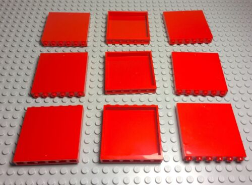 Lego X9 Red Panels 1x6x5 Windows Wall Pieces Parts Lot