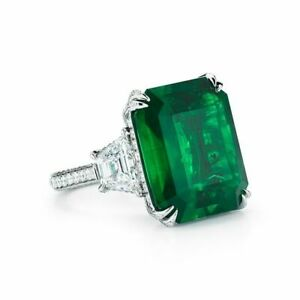 Real 925 sterling silver Solitaire ring 4 tcw Green Emerald Halo white round Ala