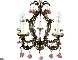 Chandelier-Porcelain-Pink-Flowers-5-Lights-Brass-Romantic-Vintage-Mid-Century