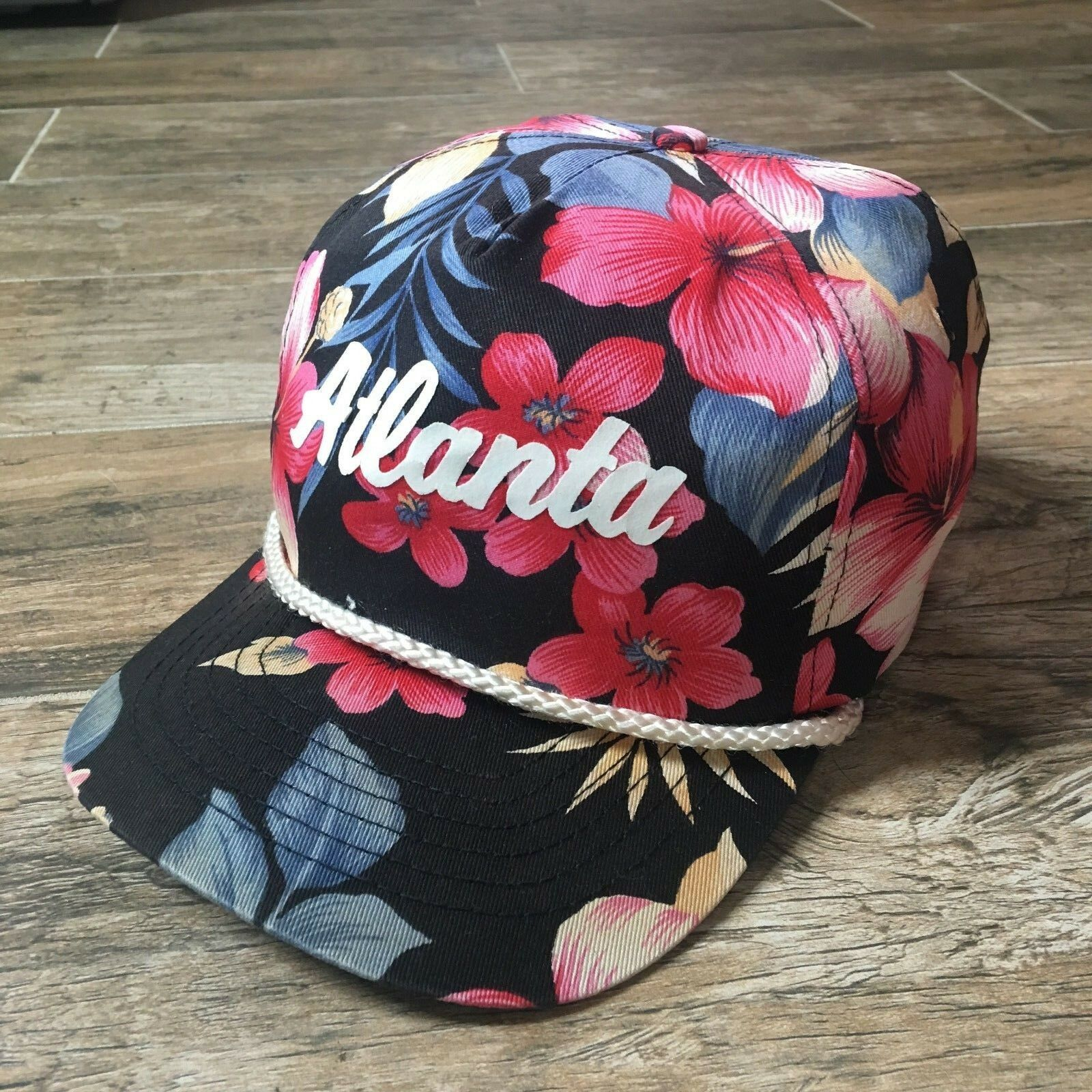 NWOT VTG 80s Atlanta Neon Floral PI All Over Rope MAGNUM PI Floral Cap Snapback Hat NOS 7985df