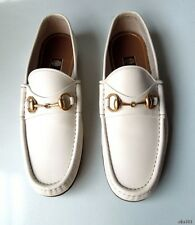 new $660 mens GUCCI off white leather horsebit LOGO slip-on loafers shoes 7 US 8