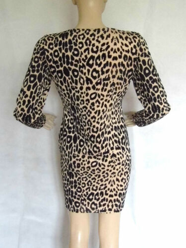 STONE//BLACK LEOPARD FLOCK DETAIL BODYCON//PENCIL//WIGGLE LONG SLEEVE DRESS SIZE 18