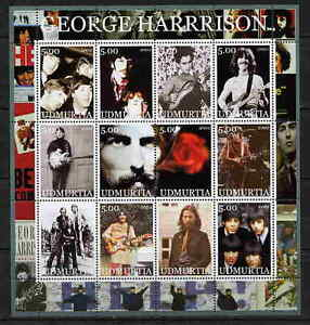 UDMURTIA-2002-GEORGE-HARRISON-BEATLES-COMPLETE-SET-OF-24-STAMPS-IN-2-SHEETS