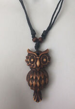 Adjustable Necklace with OWL Designed Tribal Shaped Wood-look Pendant