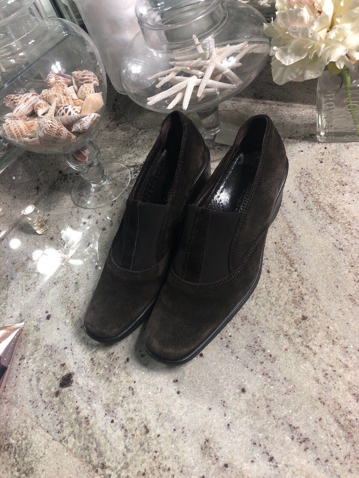damen's Aquatalia braun  Suede Wedge Ankle Stiefel Größe 9