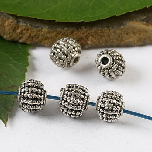 10Pcs Tibetan silver studded round spacer beads h1749