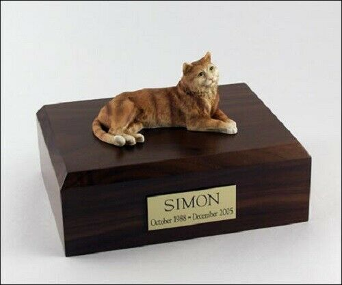 Tabby orange Cat Figurine Pet Cremation Urn Available in 3 Diff colors & 4 Sizes