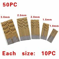 50Pcs Manual Twist Drill Bits Titanium Coated HSS High Speed Steel Drill Bit Set