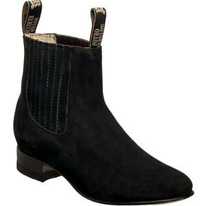 Details about Men's Potro Rebelde Finest Suede Charro Botin Handcrafted Quality Boots