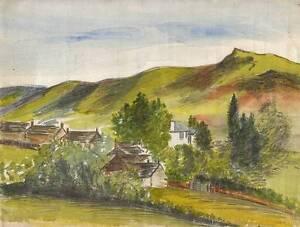ABERUTHVEN-PERTHSHIRE-SCOTLAND-Watercolour-Painting-c1920