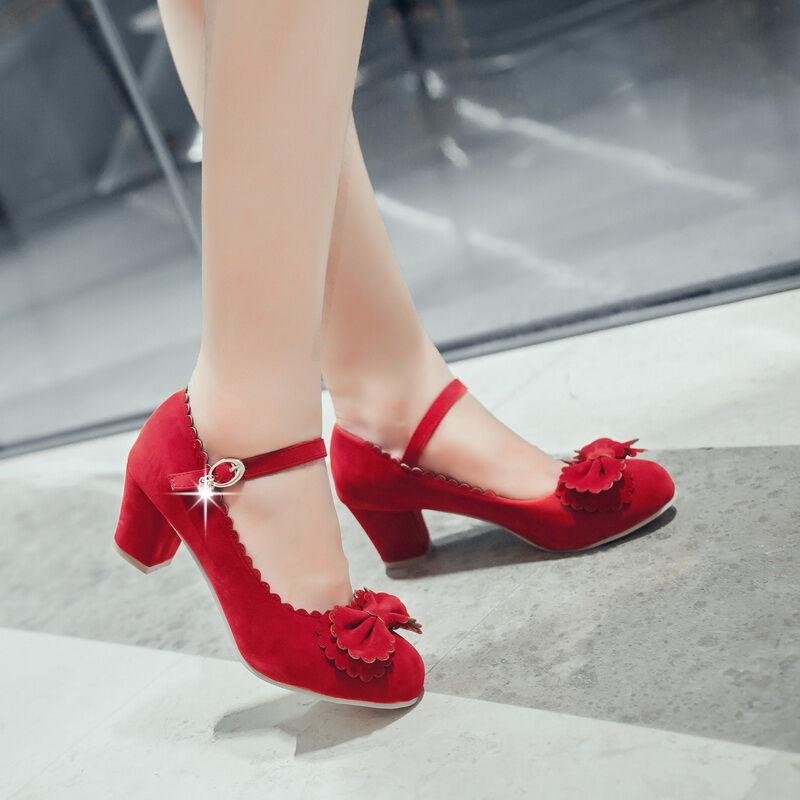 Sz 4-13 EUR34-48 Lolita Womens Sweet Bowknot Ankle Strap Round Toe Block Heel