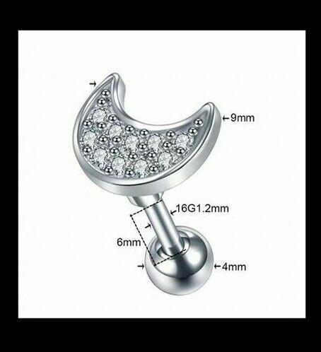 16g 6mm barbell Helix Lobe Tragus Cartlidge Star Feather Cross Body Jewellery