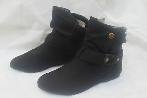 42d8eb7a6716e Image is loading Fabulous-Black-Faux-Leather-Ladies-Ankle-Boots-Flat-