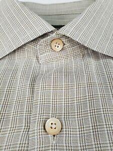Ermenegildo-Zegna-Plaid-Shirt-XL-Taupe-Brown-Plaid