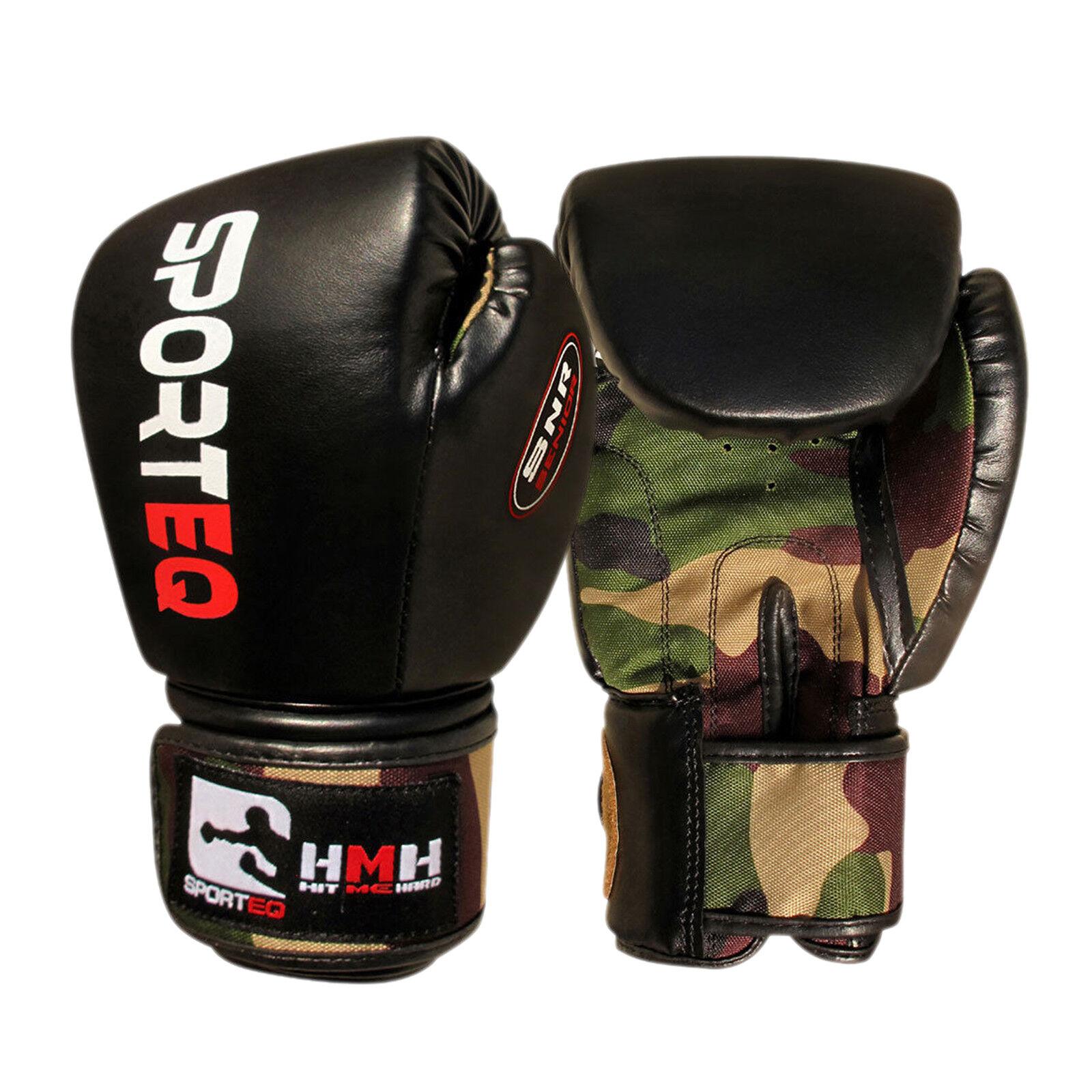 Sporteq Boxen Schlagen Handschuhe Armee Rex-Leder Kampfsport Kampftraining
