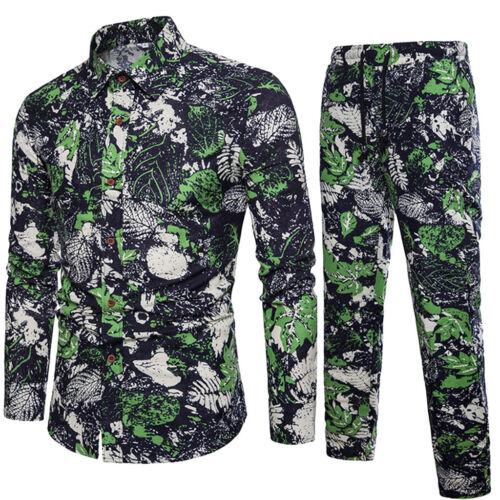 Mens Fashion Casual Long Sleeve Shirt Business Slim Fit Shirt Print Blouse Top