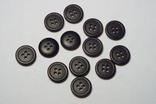 10pc 15mm Charcoal Grey Mock Horn Bone Shirt Suit Cardigan Knitwear Button 3790