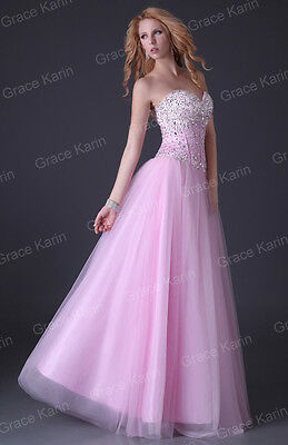 Elegant BEADED Prom Bridesmaid Party Long Dresses Formal Evening Wedding Gowns