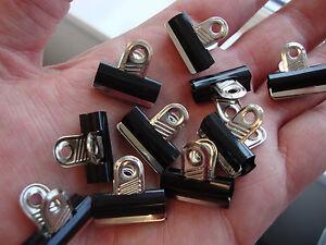 10-x-Mini-Bulldog-Clips-Grip-Clips-Black-amp-Chrome-20mm