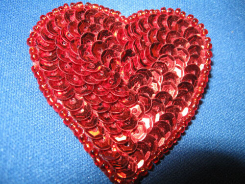 SEQUIN SEED BEADED 2 INCH HEART APPLIQUE 2190-G
