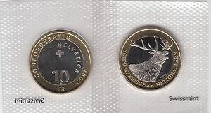 SWITZERLAND-BIMETALLIC-10-FRANCS-COIN-2009-RED-DEER-UNC
