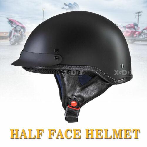 German Style Motorcycle Half Helmet Open Face DOT Cruiser Chopper Skull Cap L XL