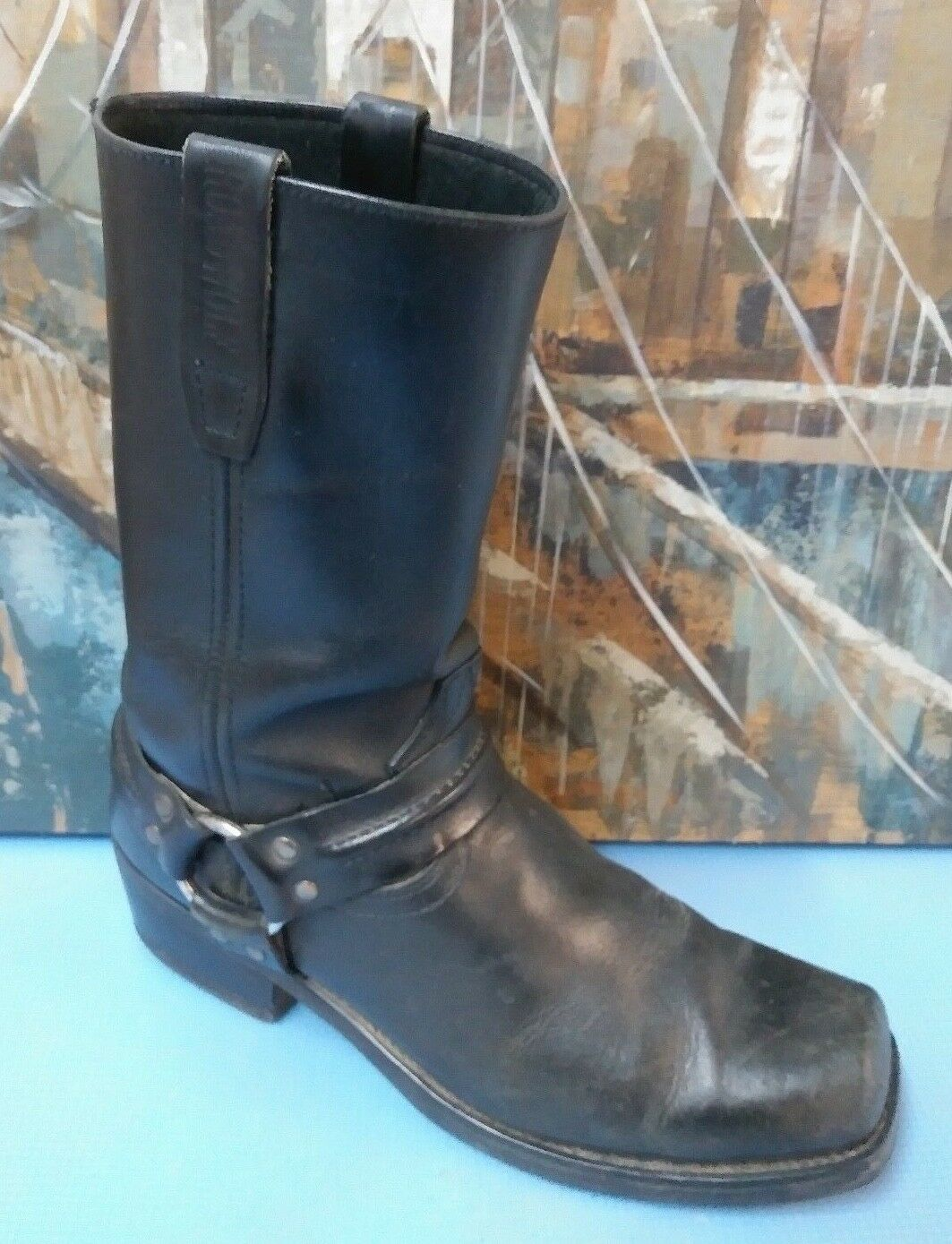 Road Wolf Wolf Road Mens Black Harness Boots 1070 Size 10 M 7fddc3