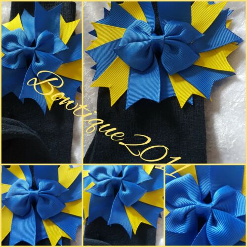 Navy School Socks With Large Royal Blue /& yellow Bows junior size 6//8.5