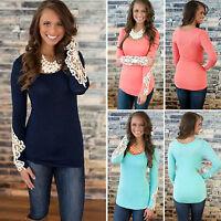 Womens Casual Cotton Long Sleeve Shirt Lace Blouse Ladies Slim Tops T Shirt 6-12