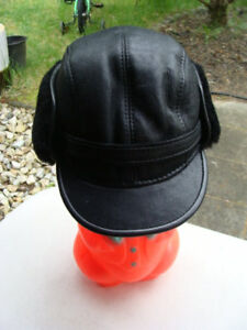 32cc122f4dd Ricardo B.H. 100% Sheepskin Men s Cap Black Captain Hat M-59