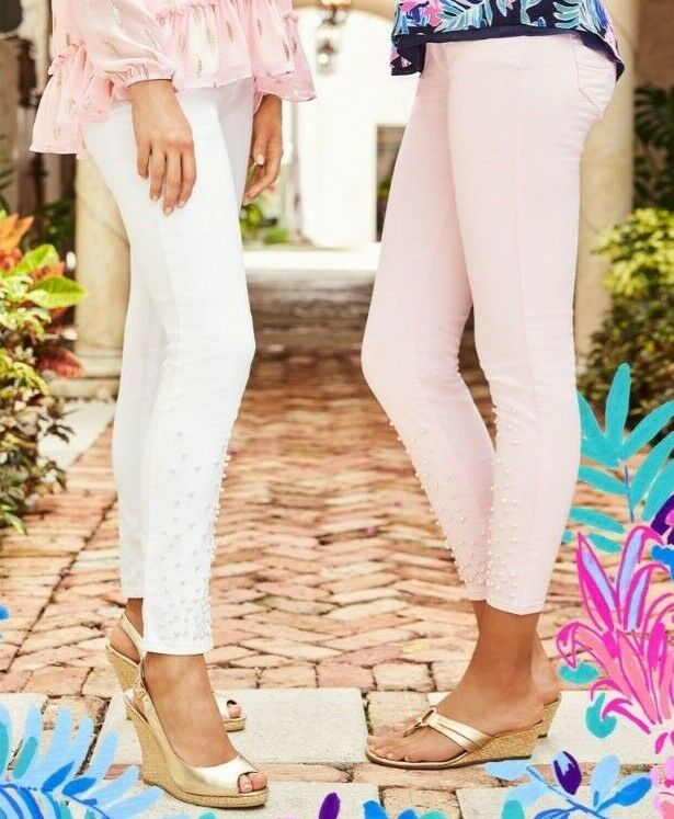 NEW Lilly Pulitzer WORTH SKINNY JEANS PEARL EMBELLISHMENT White Sateen 2 4