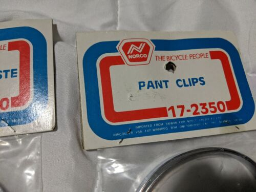 Details about  /Vintage Bicycle Pant Leg Clips Round NORCO The bicyle people 2 package` 2 pairs
