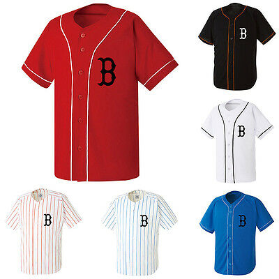 Boston Red Sox Slim Baseball Jersey Open T-shirts Sports Tops Fan Club Uniform