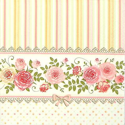 4x Paper Napkins for Decoupage Decopatch Craft Miniature Roses
