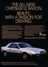 1987 Chrysler LeBaron Coupe Original Advertisement Print Art Car Ad J588