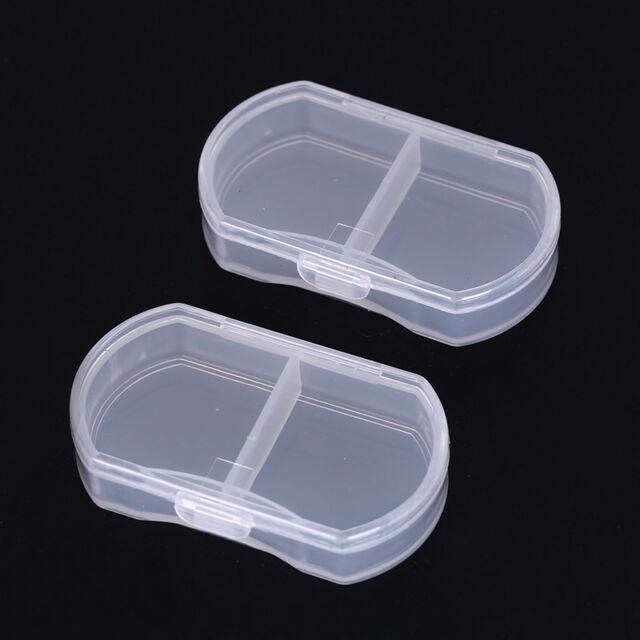 2x transparent medicine drug pill box makeup storage case container pill  case BR