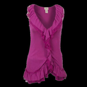 Sexy-Pink-Victorian-V-Neck-Lace-Sleeveless-Waterfall-Top-8-10-S-14-16-L