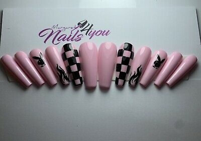 A Set Of Hand Painted Pink Flames Playboy False Nails With Stamp Coffin Ebay