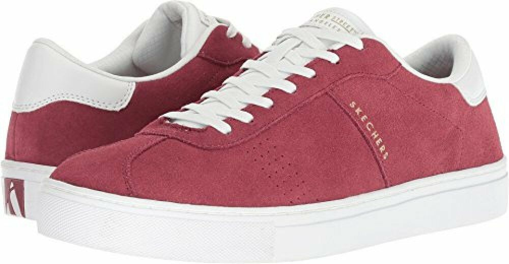 Skechers Side Street Mens Red Suede Lace up Sneakers shoes