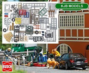 BNIB-OO-HO-BUSCH-1634-Mega-Junk-Set-Road-Rail-Side-Rubbish-Car-Parts-etc