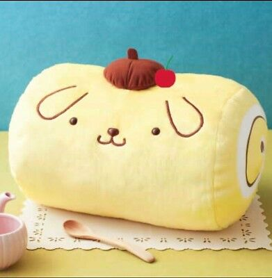 Japan Furyu Pompompurin Pudding Purin Swiss Roll Plush Cushion Pillow Cherry