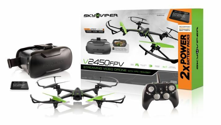 Sky Viper Streaming Video Drone with FPV Goggles and Bonus Battery V2450FPV