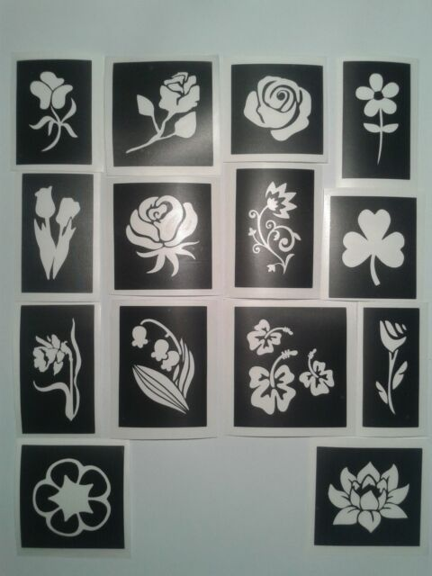 Flower themed stencils for glitter tattoos / airbrush  daisy rose tulip daffodil