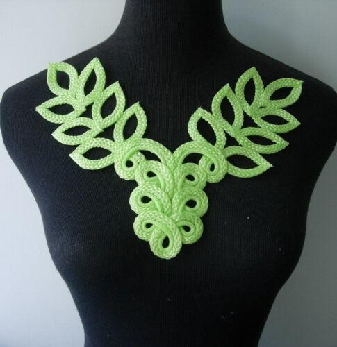 MR126-2 Macrame Corded Braided Floral Leaves Leaf Neckline Collar Motif Lime