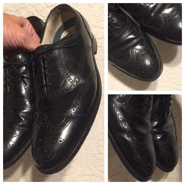 FLORSHEIM IMPERIAL Men 10 B Black Leather Comfortech Wingtip Oxford Dress shoes