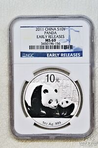 2011 China Panda with Cub 1 Oz Silver Coin NGC MS69 Early Release 20509