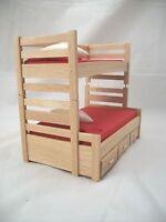 Bunk Bed W/ Trundle Dollhouse Miniature Furniture 1/12 Scale T4171 Oak Finish