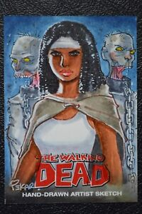 Walking-Dead-Comic-AP-Michonne-Sketch-Art-by-Joe-Pekar-30-RARE-Trading-Card